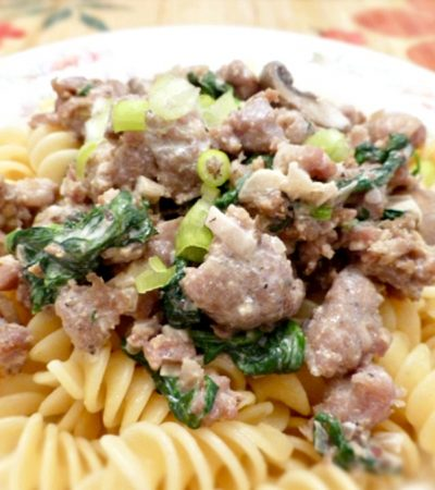 Sausage and Mushrooms in a Light Cream Sauce