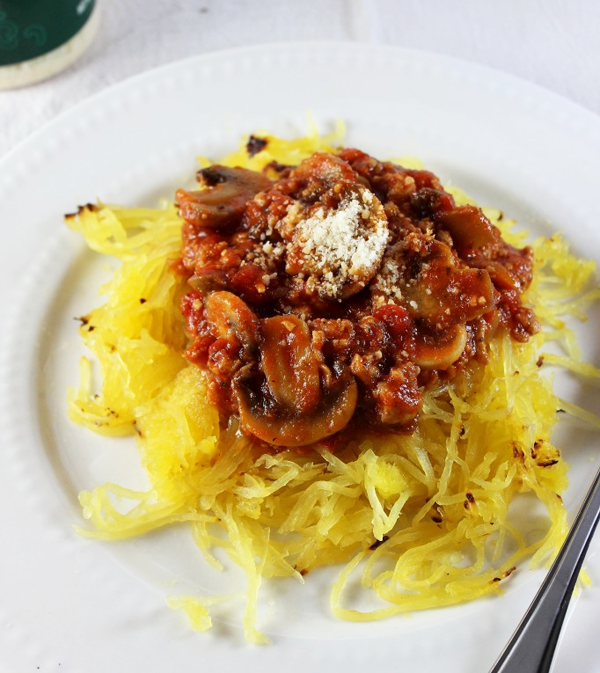Spaghetti Squash with Meat Sauce » Skinny Sweets Daily