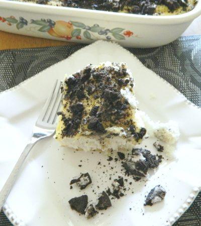 Oreo Cookies and Cream Poke Cake