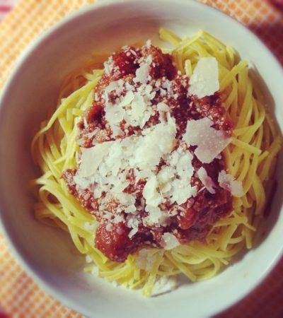 Gluten Free Linguine Bolognese
