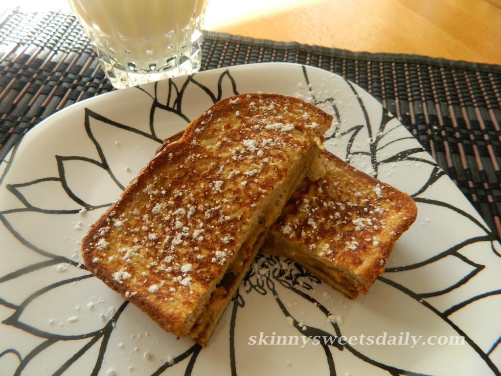 Skinny (Yet Still Gooey) Chocolate Peanut Butter French Toast