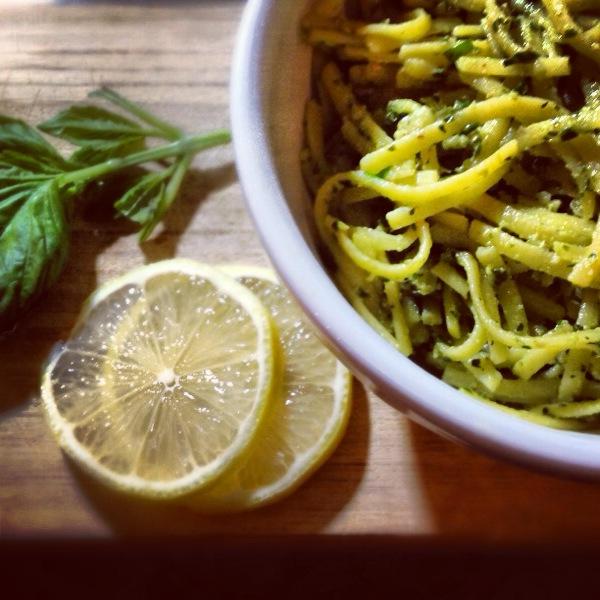 Dairy Free Pesto over Gluten Free Pasta