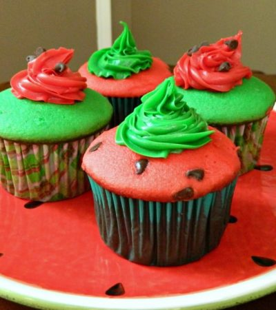 Simple to Make Cake Mix Watermelon Cupcakes