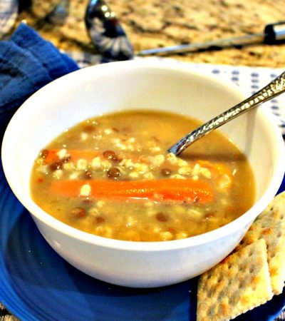 Family Favorite Crockpot Chicken Barley Bean Soup