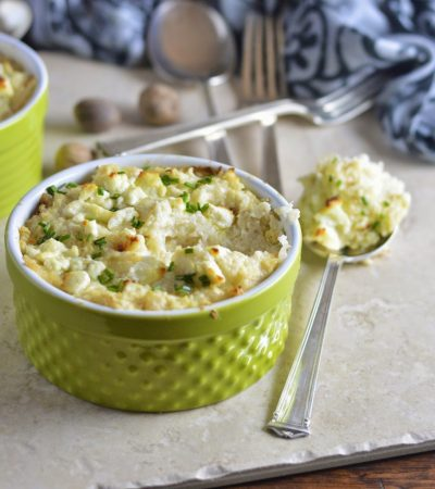 Smashed Cauliflower Gratin with Goat Cheese