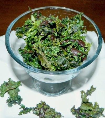 Dark Chocolate Drizzled Baked Kale Chips