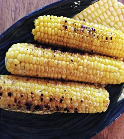 Fresh Corn On The Cob Grilled Indoors