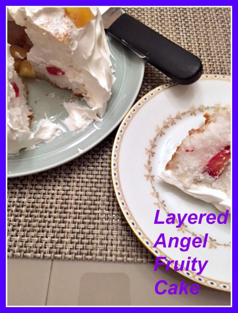 Layered angel fruity cake