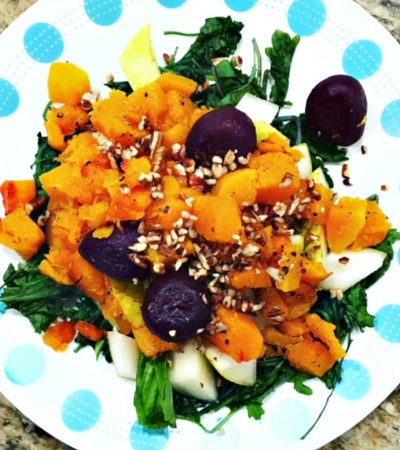 Warm Kale Salad With Butternut Squash, Pears, Beets, and Toasted Pecans