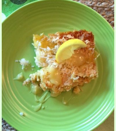 Tropical Lemon Dump Cake with Crunchy Coconut Topping