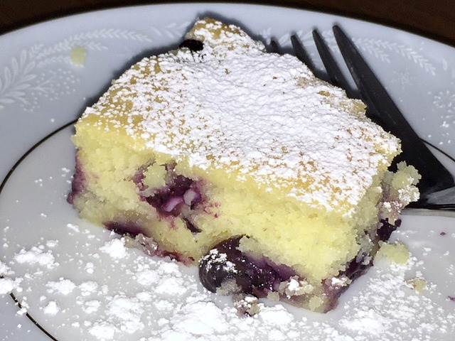 Regina's slice of lemon lush blueberry cake