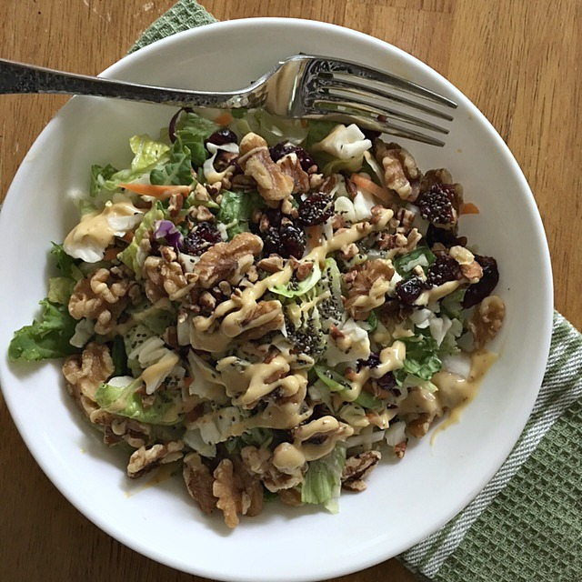 Chopped Nutty Detox Salad with Honey Mustard Dressing