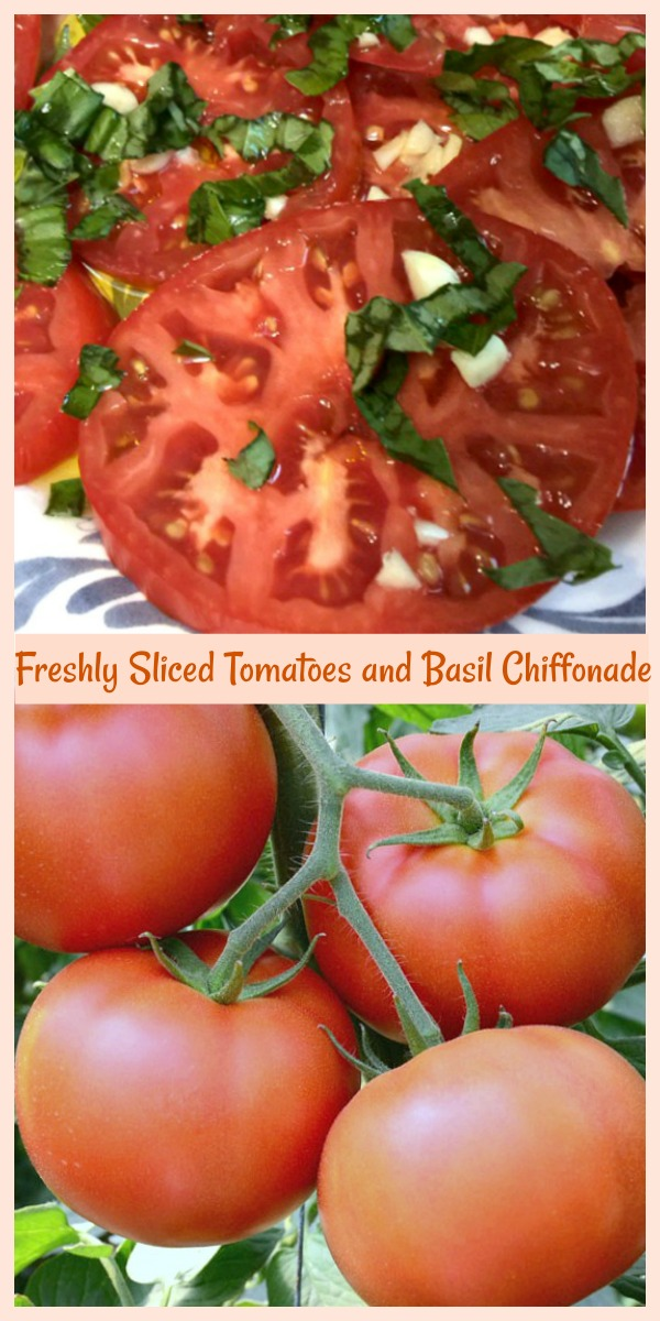 Freshly sliced tomatoes and basil chiffonade is such a clever way to up level your vegetables and create a memorable and decadent appetizer. If you're wondering how to cut up fresh basil, cut basil ribbons or how basil leaves chiffonade you're in the right place! via @skinnydesserts