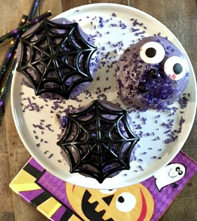 Vanilla Halloween Cupcakes with Fluffy Purple Frosting