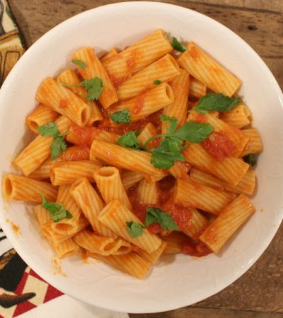Simple Rigatoni with Light Creamy Tomato Sauce