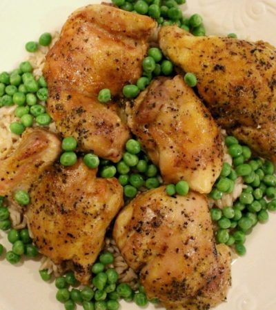Simple Baked Chicken Thighs With Noodles and Peas