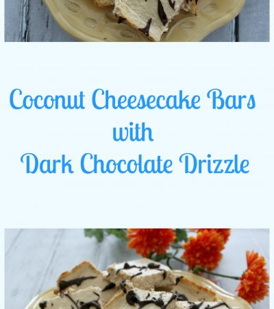 Coconut Cheesecake Bars with Chocolate Drizzle
