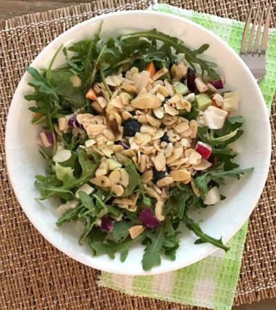 Arugula Pecan Salad with Simple Balsamic Dressing