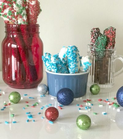 Chocolate Covered Holiday Pretzel Rods