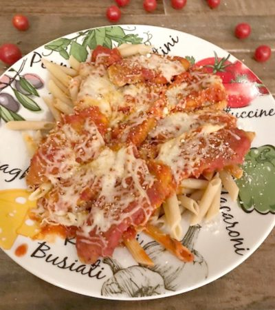 Baked Chicken Parmesan Tenders and Pasta