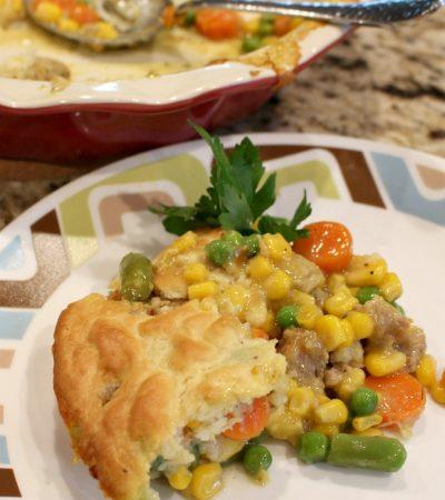 Shortcut Meatball Pot Pie Casserole