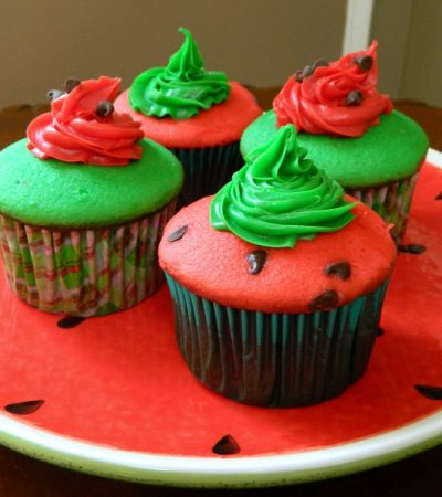 Simple Recipe…Cake Mix Watermelon Cupcakes
