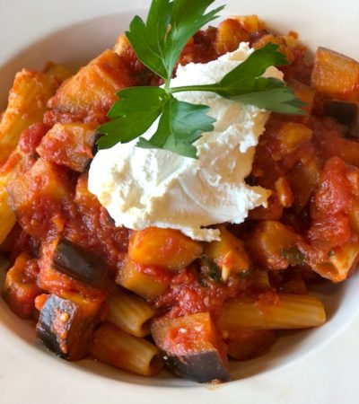 Shortcut Eggplant Tomato Sauce with Rigatoni and Ricotta