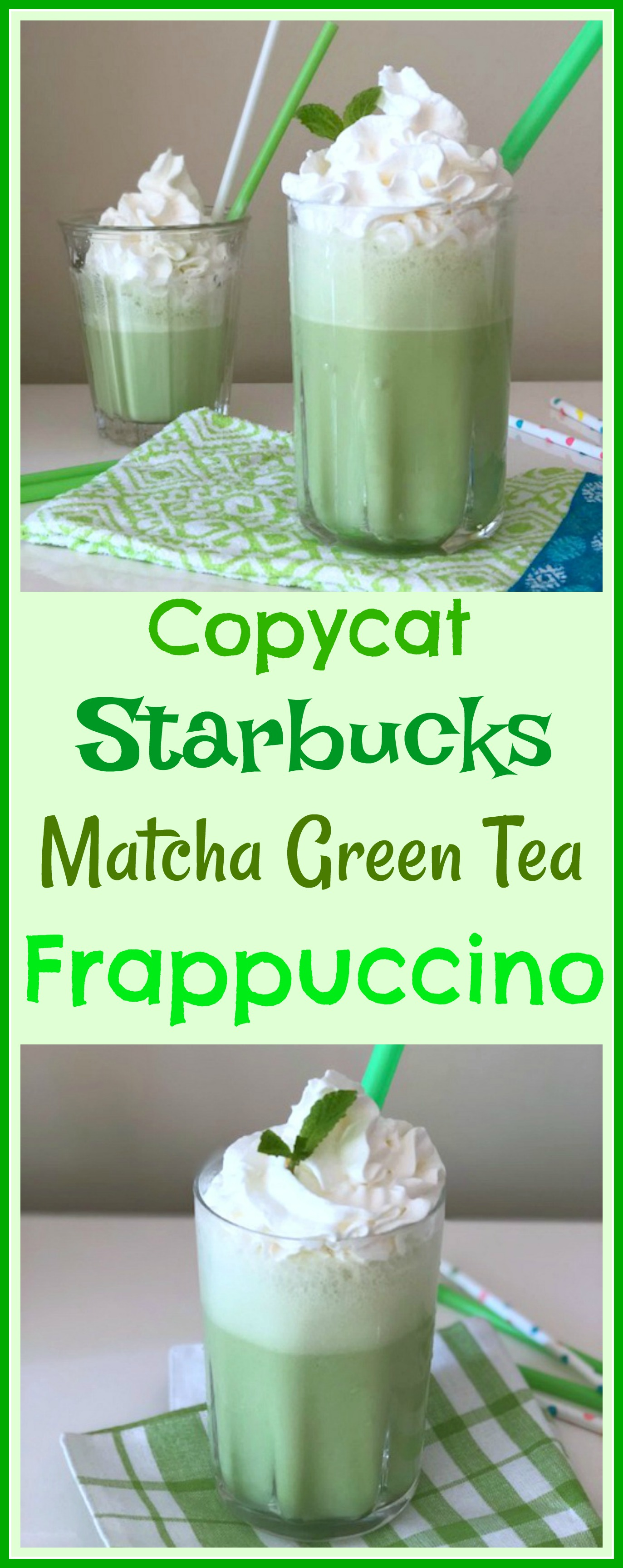 This Starbucks green tea frappuccino recipe is creamy and refreshingly delicious. And even better, this easy matcha frappe tastes pretty close to the original Starbucks Matcha Frappuccino! Make a matcha green tea frappe for yourself and enjoy! via @skinnydesserts