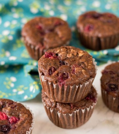 Chocolate Cranberry Oat Muffins