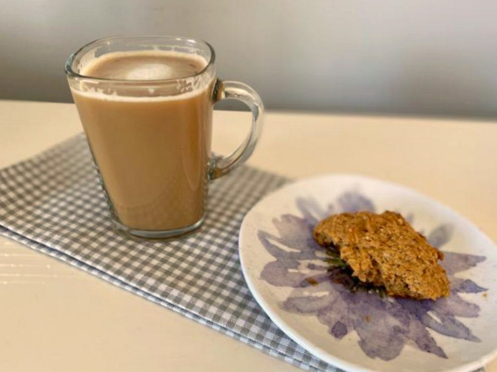 honey almond milk latte