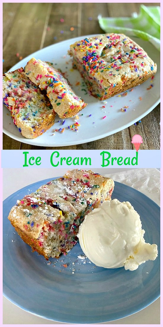 Bread and ice cream, is there anything better? Funfetti ice cream bread is the most unbelievable dessert and I know as soon as you try this ice cream quick bread you'll want to make it over and over! via @skinnydesserts